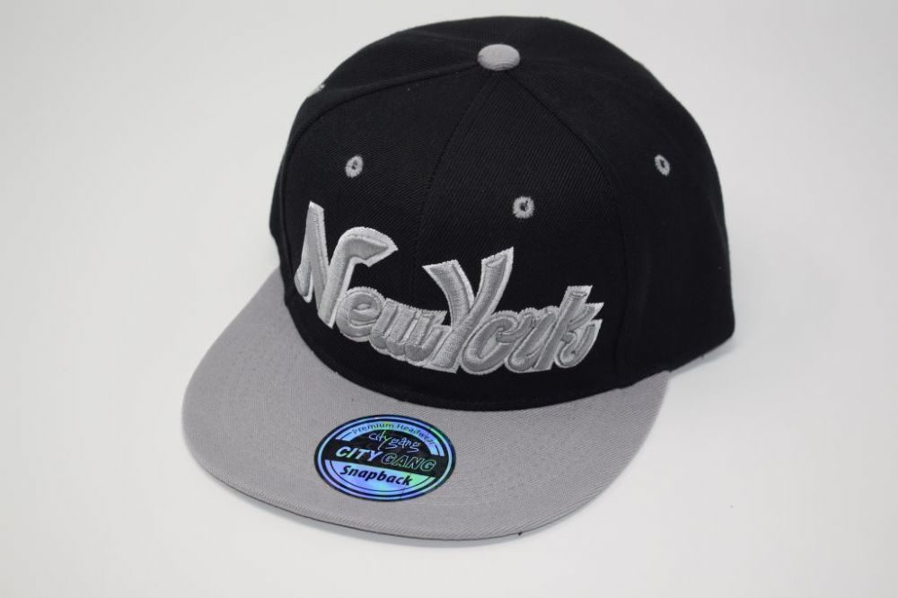 C4874-New York Black/Grey Snapback Cap one size fits all adjustable 20% cotton, 80% polyster